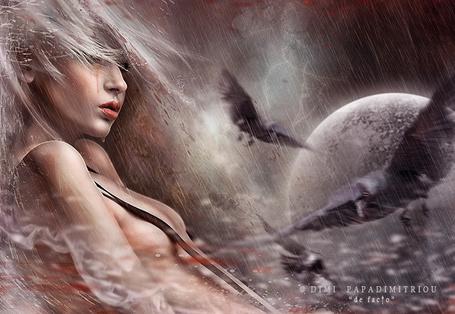 Фото Девушка под дождем, перед ней парят вороны, by mimikascraftroom