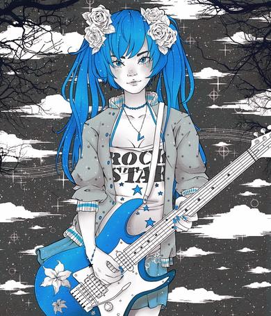 Фото Vocaloid Hatsune Miku / Вокалоид Хатсуне Мику в майке с надписью Rock Star и кулоном в виде синей буквы V на цепочке на шее, с белыми розами в волосах, играет на голубой гитаре с лилиями на корпусе, стоя на фоне серого неба со звездочками, облаками и голыми ветками деревьев, арт / art by Arckasa