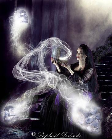Фото Девушка с магической шкатулкой, откуда появились черепа, by thornevald
