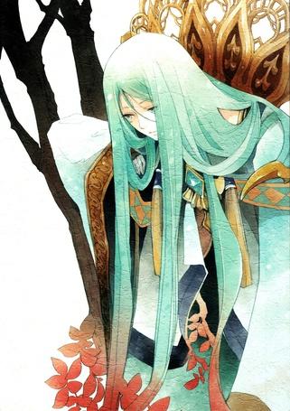 Фото Парень с длинными голубыми волосами, игра Suikoden III, art by Aki