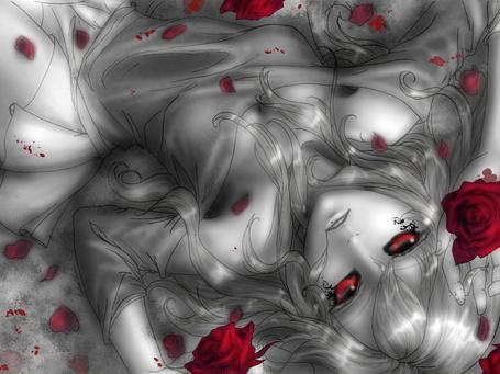 Фото Девушка с красными глазами лежит среди красных роз и лепестков, by Fablekiss