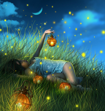 Фото Девочка с фонариками лежит в траве среди огоньков светлячков на фоне ночного неба и месяца, by little-spacey