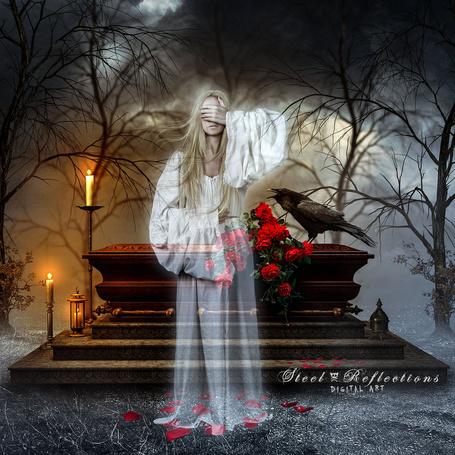 Фото Призрак девушки у гроба с алыми розами, на котором сидит кричащий ворон, by RavenYoungblood-art