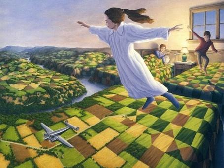 Фото Девочка парит над землей, недалеко летит самолет, художник Роб Гонсалвес
