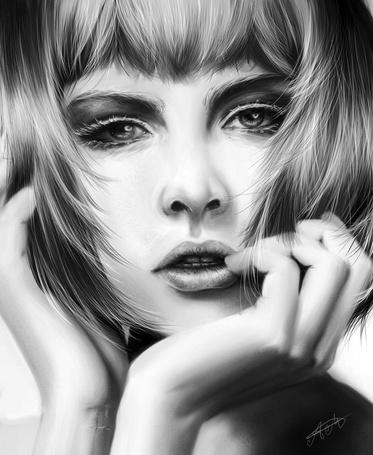 Фото Девушка с рукой у лица, by Marfyta