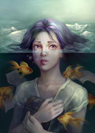 Фото Девушка стоит в воде со шкатулкой в руках, в окружении рыб и бумажных корабликов, by jolakotturinn