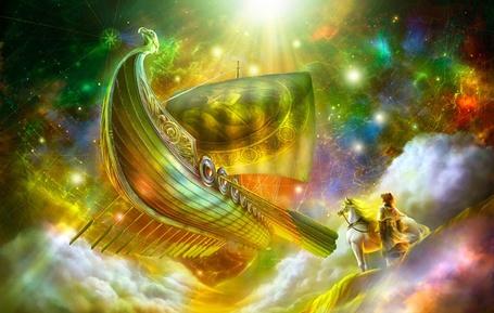 Фото Мальчик смотрит на волшебный летучий корабль, художник Shu Mizoguchi