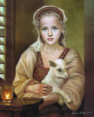 Фото Девочка и козленок на сидят у стола, где горит свеча, художница Annie Stegg