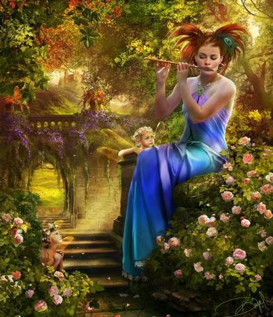 Фото Красивая девушка в райском саду играет на флейте а маленькие эльфы слушают, иллюстратор Drazenka Kimpel