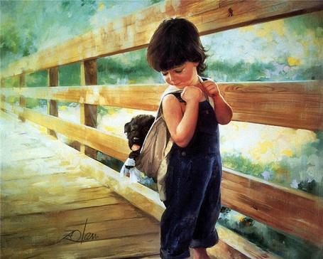 Фото Портрет мальчика на мосту, в синем комбинезоне, со щенком за спиной, художник Дональд Золан