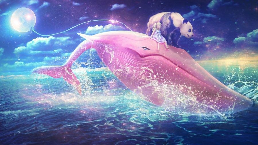 Розовый кит картинка