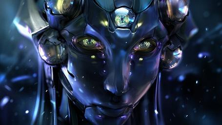 Фото Голова робота женского пола в синих тонах
