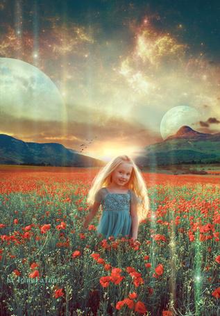 Фото Девочка стоит в поле с цветущими маками на фоне неба с планетами, by IgnisFatuusII