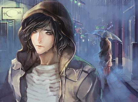 Фото Парень стоит под дождем и грустит об уходящей девушке, by Zero1510