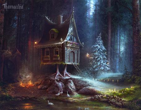 Фото Работа Edge of Winter / Край Зимы, в лесу стоит избушка на курьих ножках, с одной стороны от нее-зима, а с другой - лето, by cornacchia-art