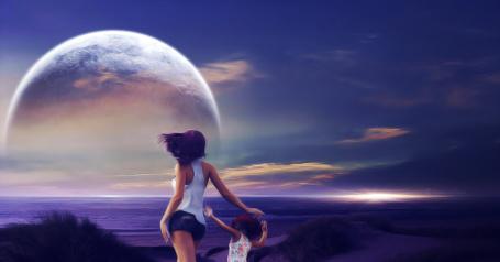 Фото Девушка с девочкой смотрят на планету