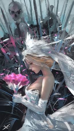 Фото Девушка в свадебном платье с букетом цветов, art by wlop