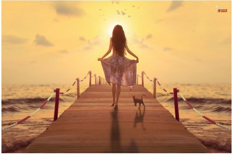 Фото Девушка с кошкой идут по деревянному мостику навстречу солнцу, by rosetrace