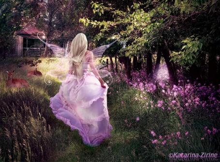 Фото Девушка с крылышками в розовом платье на фоне природы, by MoonZaphire