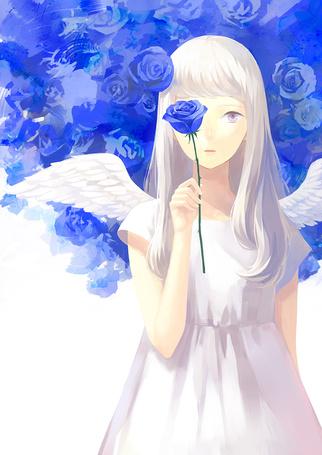 Фото Девушка-ангел с розой в руке