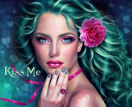 Фото Красивая девушка с розовым цветком на волосах держит руку возле губ (Kiss me / Поцелуй меня), by Esther Puche