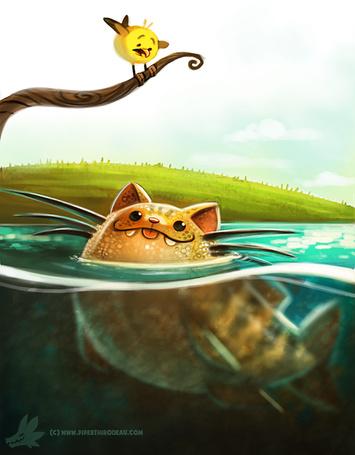 Фото Рыба-кот, выглядывая из воды, смотрит на птичку, by Cryptid-Creations