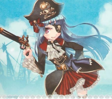 Фото Девушка-пиратка с повязкой на глазу и с пистолетом, art by Yuzuno Asaki