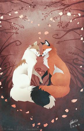 Фото Две влюбленных лисы, art by Lhuin