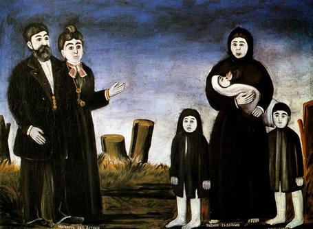 Фото Бездетный миллионер и бедная с детьми. Работа Нико Пиросмани