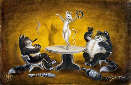 Фото Два жирных кота вальяжно развалившись в креслах наблюдают за стройной белой мышью, красиво танцующей на столе, художник Кулыгин Николай Леонидович