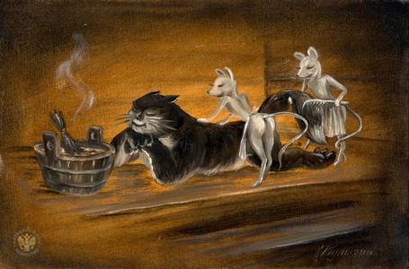 Фото Черный кот банничает с услужливыми белыми мышками, художник Кулыгин Николай Леонидович