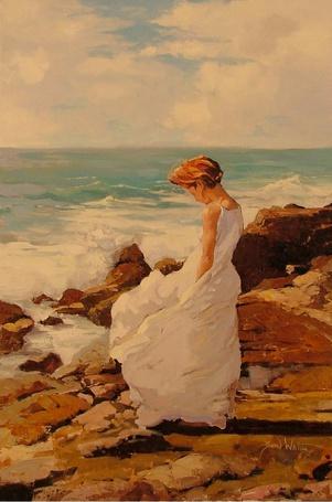 Фото Грустная девушка в белом платье стоит у моря, by rooze23