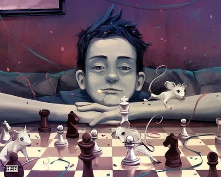 Фото Парень играет в шахматы с мышами