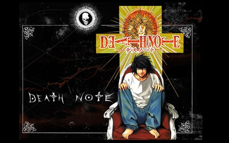 Фото L сидит в кресле из аниме Death Note / Тетрадь смерти, art by Takeshi Obata
