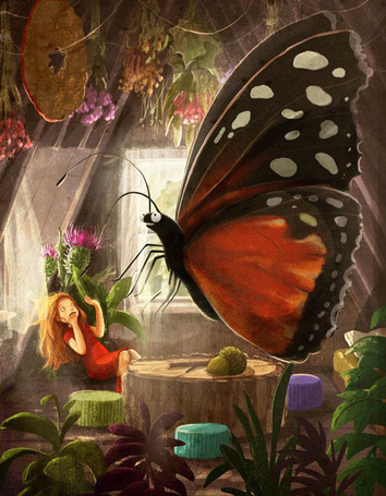 Фото Огромная бабочка перед девочкой, by Emilia Dziubak