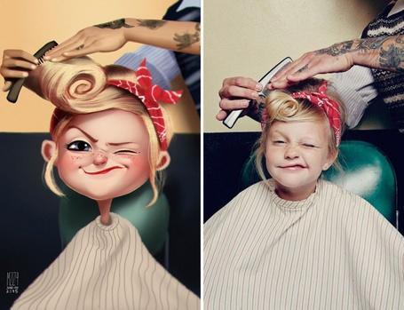 Фото Рисунок и фото смешной девочки, которой делают прическу, art Julio Cesar