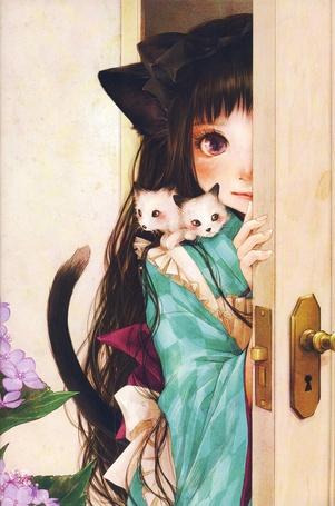 Фото Девочка с котятами на плече выглядывает из-за двери, neko girl, art by Shiho Enta