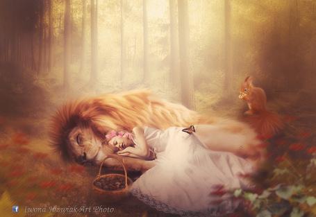 Фото Девочка спит, прижавшись к льву, рядом сидит белка