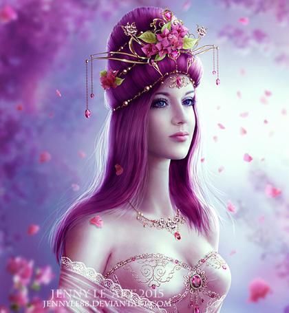 Фото Девушка с голубыми глазами и сиреневыми волосами с прической украшенной цветами / JENNY LE ART 2015 JENNLE88. DEVIANTART. COM/