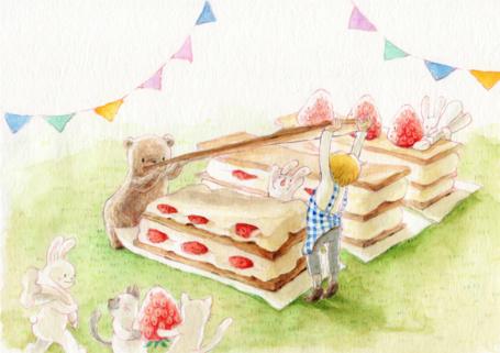 Фото Мальчик, медвежонок, кролики и кошки делают огромные пироженки