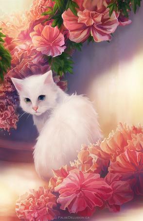 Фото Белая кошка с разноцветными глазами
