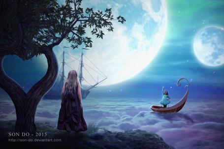 Фото Девочка, плывущая в лодке по облакам, машет рукой девочке, стоящей на берегу, by Son-Do