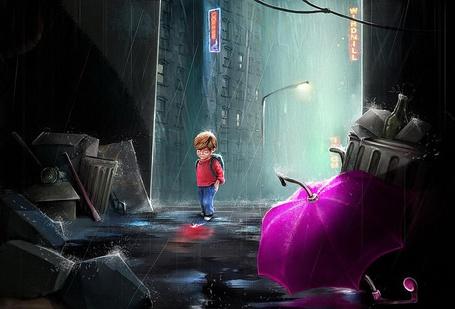 Фото Маленький не веселый мальчик, с рюкзачком на спине идет по ночной, заваленной мусором и другими предметами улице, под проливным дождем, автор Malgorzata Arska