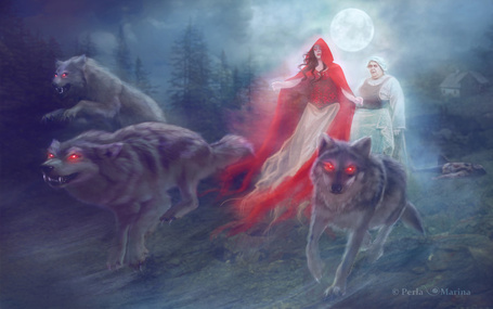 Фото Красная шапочка с бабушкой и волки, by PerlaMarina