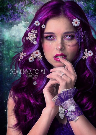 Фото Плачущая девушка с цветами на волосах,(вернись ко мне / Come back to me), by Esther Puche