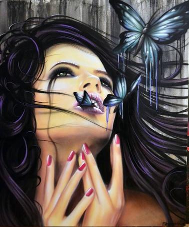 Фото Девушка со слезами и бабочками, by Joseph Boin