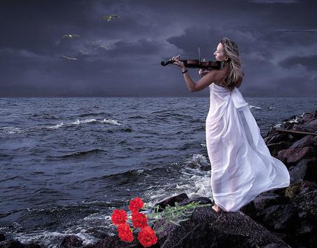 Фото Девушка на берегу моря играет на скрипке