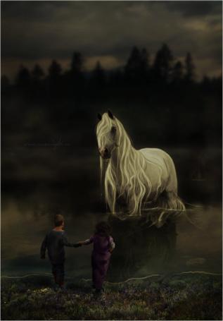 Фото Дети стоят перед лошадью в воде, by Poisons-Kiss
