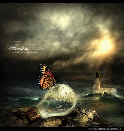 Фото Девушка стоит в море под дождем, на разбитой лампочке сидит бабочка (Freedom), работа Ahmed-Fares94