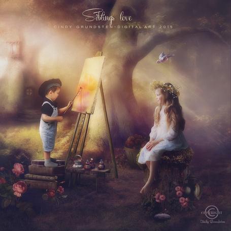 Фото Мальчик рисует девочку, которая сидит перед ним, by CindysArt